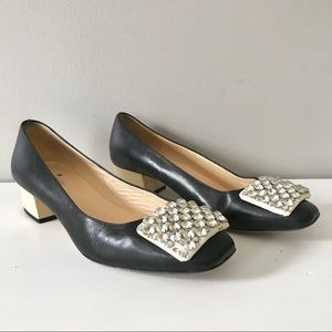 Kate Spade black mixer jewel front leather pump6.5